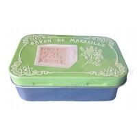 Boîte à savon SAVON DE MARSEILLE sur fond Vert