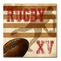 Dessous de plat Rugby XV l'esprit d'équipe déco rétro vintage