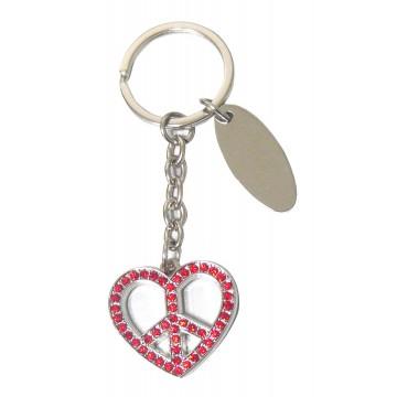 Porte clés Coeur Peace porte-clé métal et strass