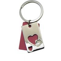 Porte-clés Coeur plaque découpée rouge porte clés métal et strass