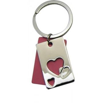 Porte clés Coeur plaque découpée rouge porte-clé métal