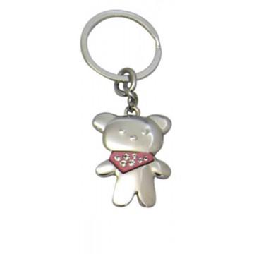 Porte clés Nounours foulard rose porte-clé métal et strass