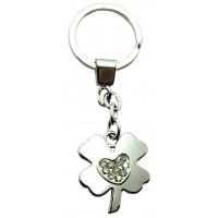 Porte-clés Trèfle Coeur porte clés métal et strass