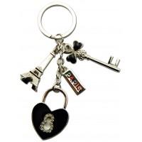 Porte-clés Paris Strass porte clés métal et strass