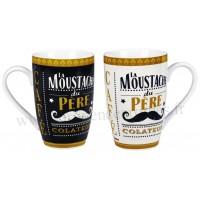 2 Mugs MOUSTACHE DU PÈRE COLATEUR Natives déco rétro vintage