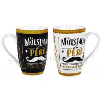 2 Mugs MOUSTACHE Natives déco rétro vintage