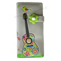 Portefeuille Compagnon Guitare Oiseau Hippie Chic
