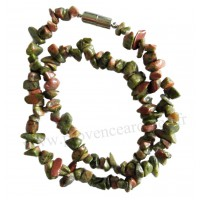 Collier en Unakite pierre naturelle collier baroque pierres brutes
