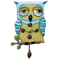 Horloge Chouette Bleue à balancier déco vintage designs