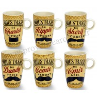 Coffret tasses à café MOUSTACHES Natives déco rétro vintage