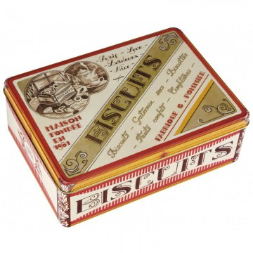 Boîte métal rectangle BISCUITS déco pub rétro Comptoir de Famille