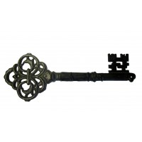 Patère GRANDE CLÉ en fonte noire accroche clés 3 crochets