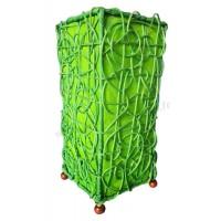 Lampe verte carrée ethnique tressée rotin et tissus collection Ethnics