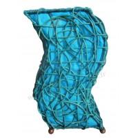 Lampe bleue vague ethnique tressée rotin et tissus collection Ethnics