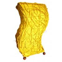 Lampe jaune vague ethnique tressée rotin et tissus collection Ethnics
