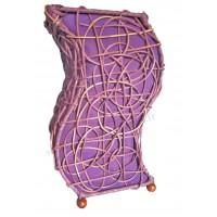 Lampe violette vague ethnique tressée rotin et tissus collection Ethnics