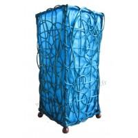 Lampe bleue carrée ethnique tressée rotin et tissus collection Ethnics
