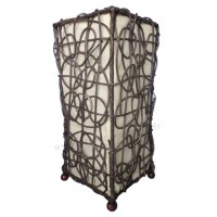 Lampe beige marron carrée ethnique tressée rotin et tissus collection Ethnics