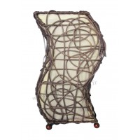 Lampe beige marron vague ethnique tressée rotin et tissus collection Ethnics