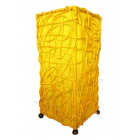 Lampe jaune carrée ethnique tressée rotin et tissus collection Ethnics
