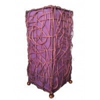 Lampe violette carrée ethnique tressée rotin et tissus collection Ethnics