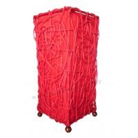 Lampe Rouge Carrée ethnique tressée rotin et tissus collection Ethnics