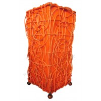 Lampe Orange carrée ethnique tressée rotin et tissus collection Ethnics