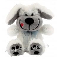 Peluche Petit chien coquin Blanc la langue en coin