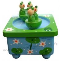 Boîte à musique en bois Deux grenouilles qui dansent