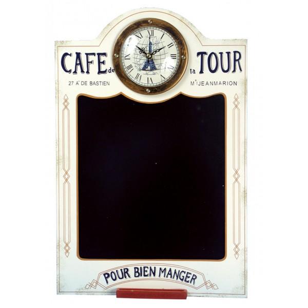 horloge ardoise bistrot beige caf de la tour paris provence ar mes tendance sud. Black Bedroom Furniture Sets. Home Design Ideas