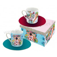 Coffret 2 tasses CHAT et CHOUETTE ALLEN DESIGNS