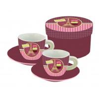 Coffret de 2 tasses à café MACARON DE PARIS déco rétro