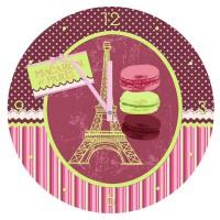 Horloge en verre MACARON DE PARIS déco rétro