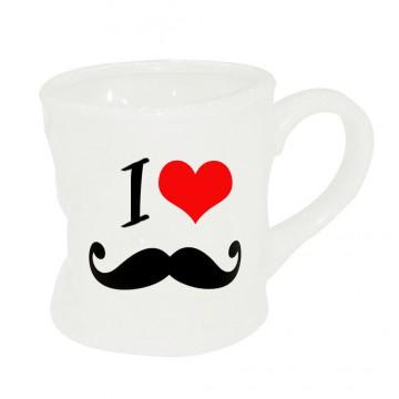 Mug I Love Moustache Mug blanc original en céramique déformé