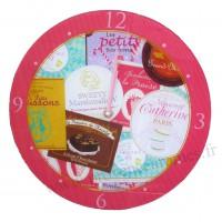 Horloge en verre Étiquettes gourmandes collection Bonbons, chocolats et gourmandises