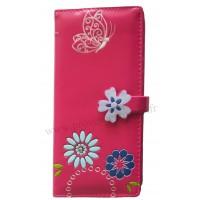 Portefeuille Compagnon Rose Fleur Papillon