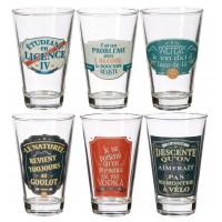 Coffret de 6 verres MAXIMES BAR Natives déco rétro vintage