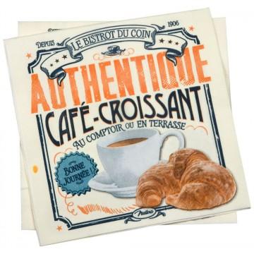 Serviettes en papier CAFÉ-CROISSANT Natives déco rétro vintage