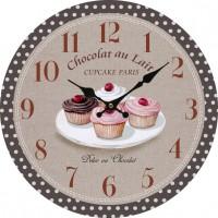 Horloge CUPCAKE Paris Délice Chocolat au lait déco rétro gourmande