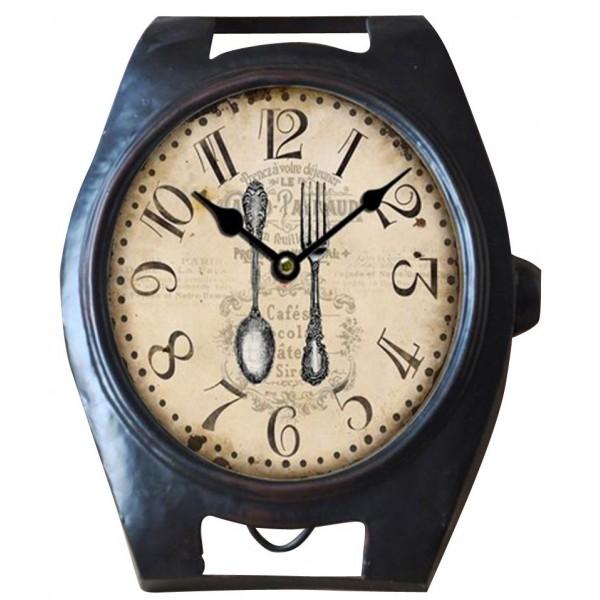 Horloge m tal montre noir d co r tro style brocante for Horloge metal noir