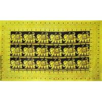 Grande Tenture 18 éléphants Tenture noire jaune à franges 135 x 215 cm