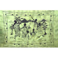 Tenture motif village africain Tenture à franges nuance de vert 100 x 160 cm