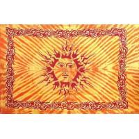 Grande Tenture motif Soleil Celtes Tenture orange jaune à franges 135 x 215 cm
