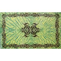 Grande Tenture motif Tribal Tenture verte à franges 135 x 215 cm