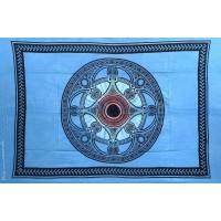 Grande Tenture motif Mandala Tenture bleue à franges 135 x 215 cm