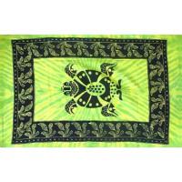 Grande Tenture Tortue Tribal à franges tenture verte Tie Dye 135 x 215 cm