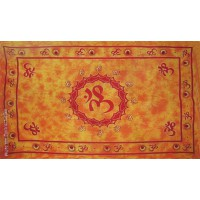 Grande Tenture motif Ohm Tenture à franges orange 135 x 215cm