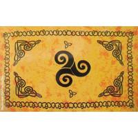 Grande Tenture Triskel Celtes Tenture Orange à franges 135 x 215 cm