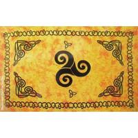 Grande Tenture Triskel Celtes Tenture Jaune Orangé à franges 135 x 215 cm