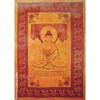Grande Tenture Bouddha Tenture orange à franges 135 x 215 cm